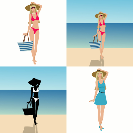 Beautiful slender girl. set of four illustrations Illustration