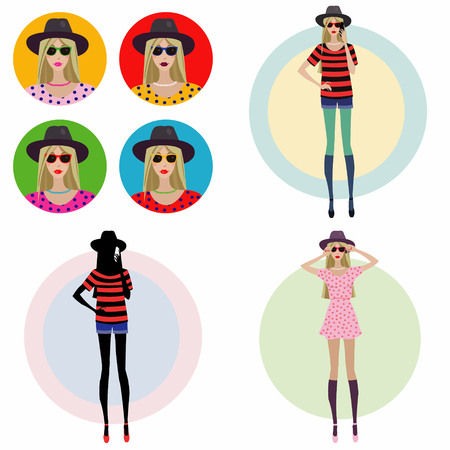 girl in a fashion hat.Set of four illustrations