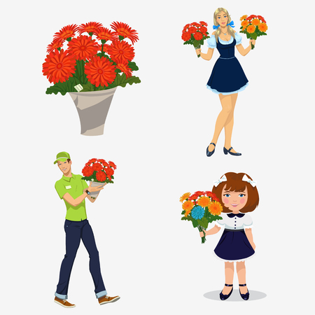 bouquet of flowers. Set of four illustrations Illustration