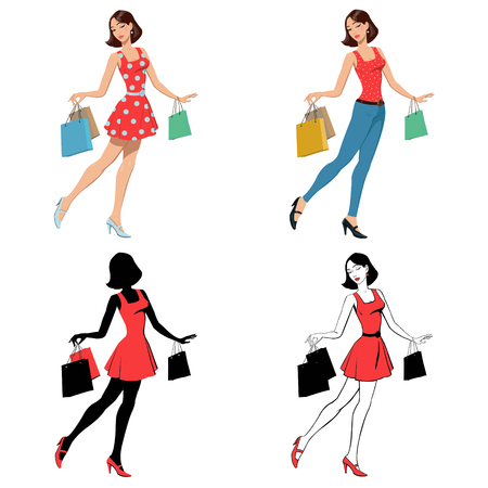 shopping girl. set of four illustrations