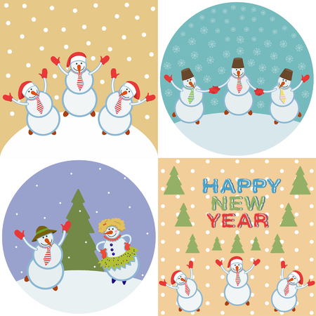 merry happy snowmen. set of four illustrations