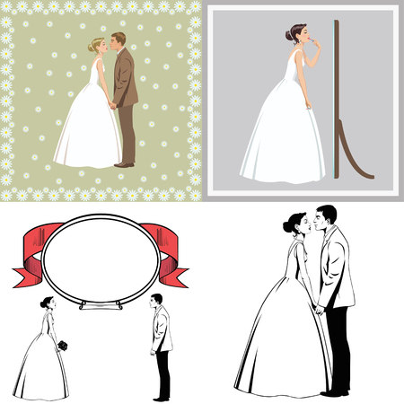 happy bride and groom. set of four illustrations