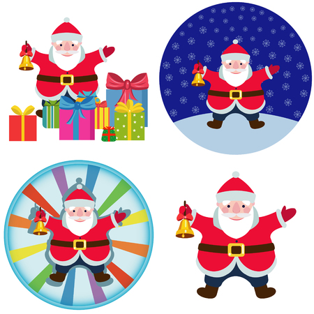 Cartoon Santa Claus with a Christmas bell.set of four illustrations