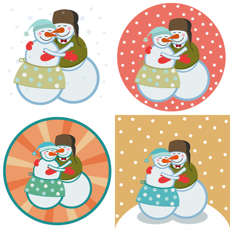 couple lover snowmen hugging each other.set of four illustrations