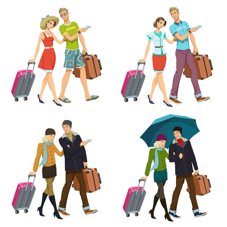 happy couple with suitcases. set of four illustrations Illustration