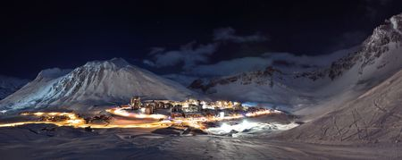 Tignes (Alps) at night panorama  photo
