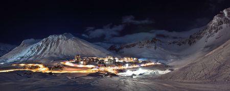 Tignes (Alps) at night panorama  photo