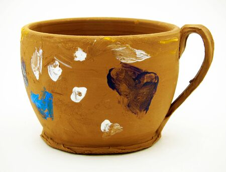 clay mug made and painted by a child