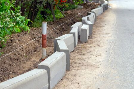 curb blocks prepared for installation