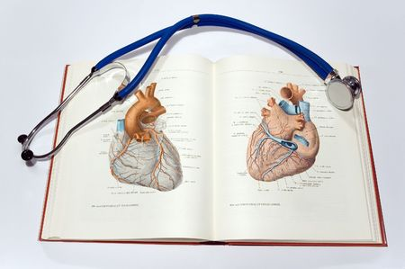 medical school: Textbook and stethoscope