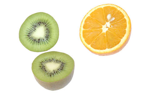 Halves of kiwi and orange isolated on white Stock Photo - 2034537
