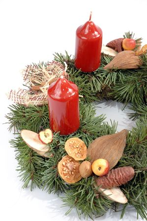 Detail of advent wreath with red candle Stock Photo - 3877909
