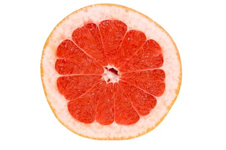 the juicy cut grapefruit on a white background, contains clipping path photo