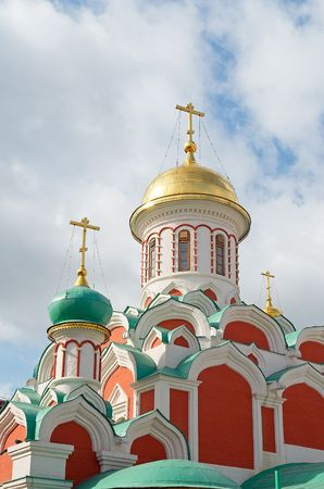 theological: Domes of an orthodox temple on a background of the cloudy sky