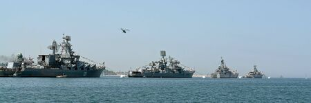 very large warship in the Sevastopol port Stock Photo