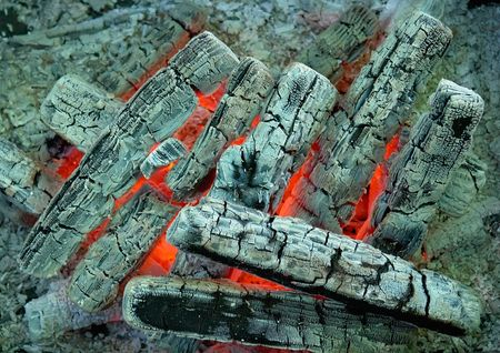 Texture. Colorful details of burning coal and wood. photo