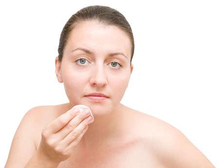 beautiful girl make-up on a white background photo