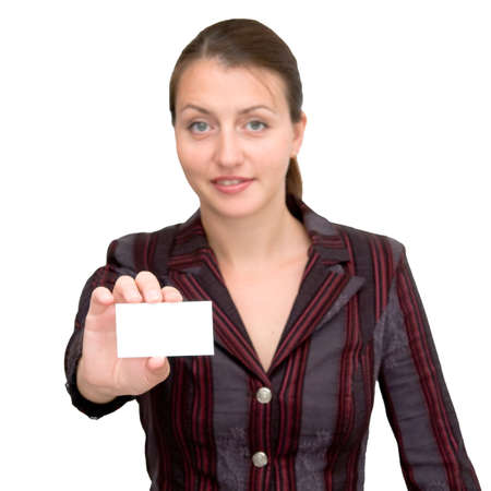 business woman with the card for an inscription photo