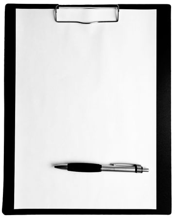 A piece of blank paper and a pen on clipboard, isolated white background. Stock Photo - 1335885