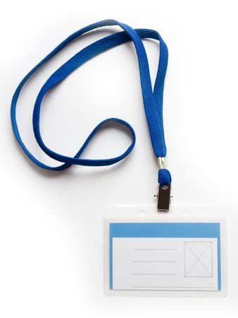 Blank ID card  badge with copy space  on a white background photo