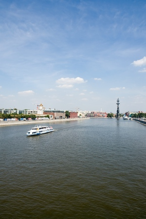 tsar: Moscow River. Monument to tsar Peter the First. Stock Photo