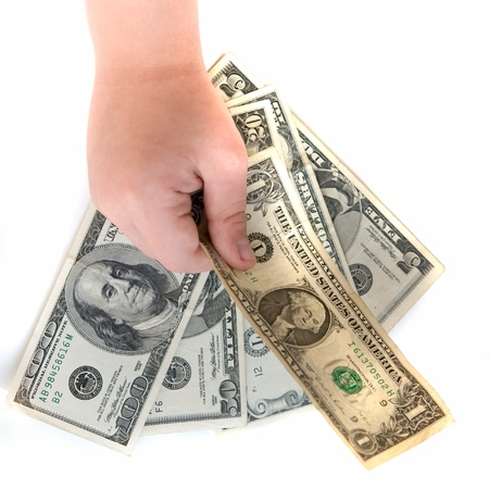Hand with dollar on a white background photo