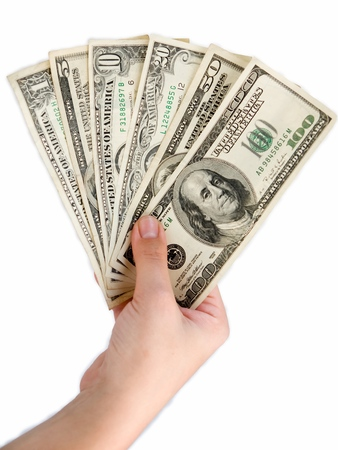 10 fingers: Female hand with dollars on a white background.
