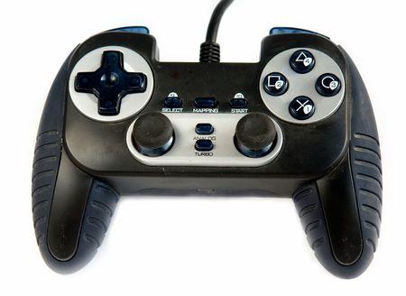 sedentary: El gamepad. Controlador de juegos de v�deo en fondo blanco