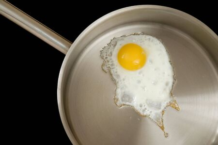 fried eggs on the big frying pan photo