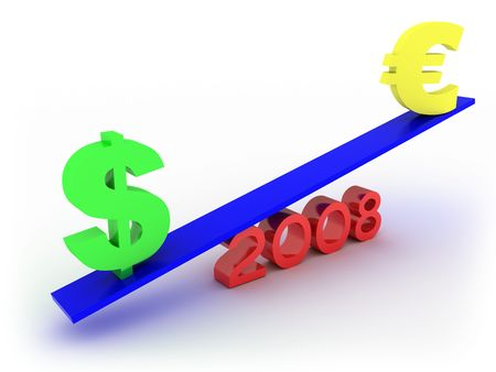 parity: Dollar vs euro in 2008. Ready to use in your designs.