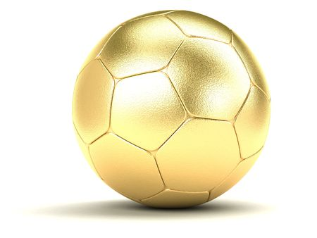 gold football on a white background Stock Photo
