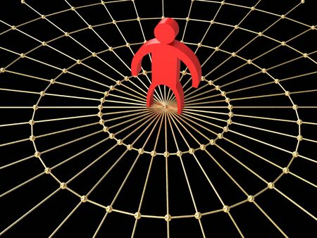 red little man on a gold web Stock Photo - 2569592
