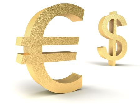 dollar vs euro on a white background