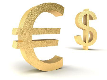 dollar vs euro on a white background