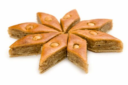 Baklava. East sweets on a white background