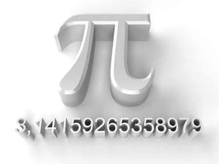 Greek letter pi and number pi on a white background