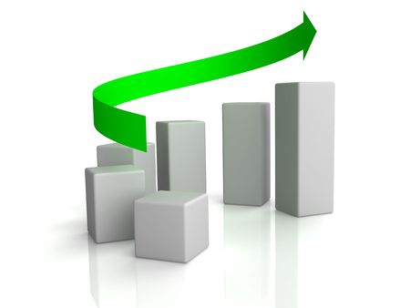 Business graph with arrow showing profits and gains photo