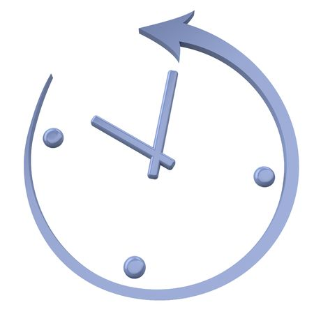 Turn back the clock. Abstract clock on a white background. Foto de archivo