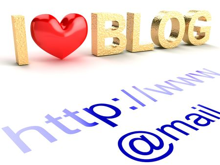 weblog: I love blog. Abstract text on a white background.