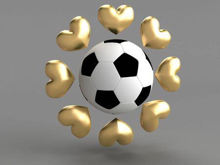 all love: Tutti amano il calcio. Abstract oro cuori attorno a un calcio.