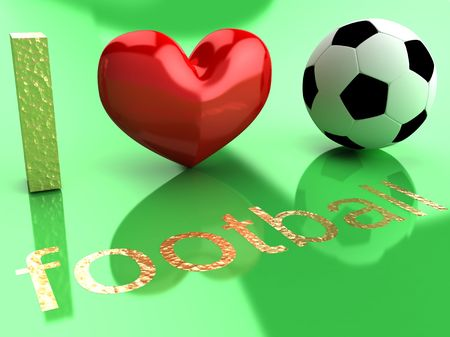 I love football. Abstract symbols on a green background. Foto de archivo