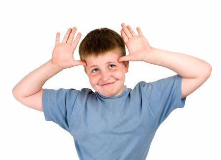 everybody: hello everybody. smiling little boy on a white background. Stock Photo