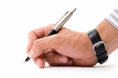 Beautiful mans hand with a pen on a white background.