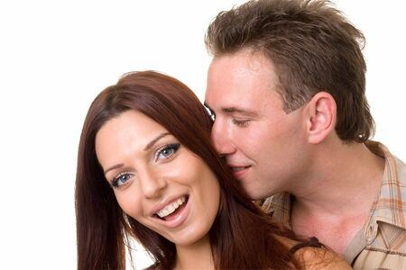 Happy couple close up on a white background Stock Photo - 3450131