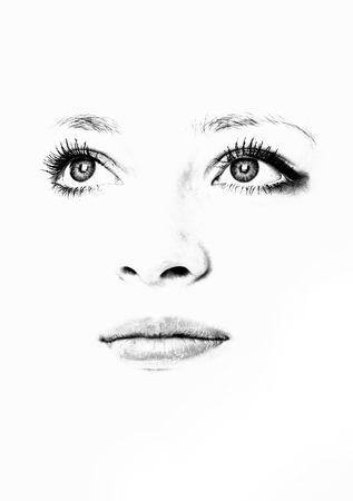 siluetas de mujeres: Ojos, labios y la nariz. Hermoso rostro aisladas sobre fondo blanco.