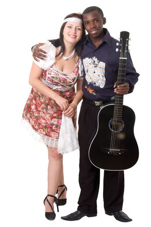 Black man and white woman. Loving couple on a white background photo
