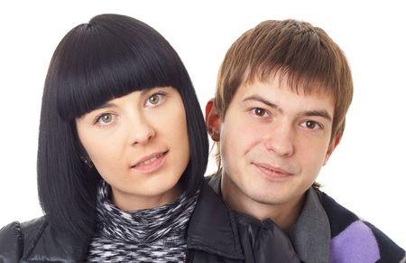 Happy loving couple on a white background Stock Photo - 3766054