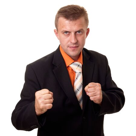 Boxing businessman. The young man in standing position on a white background. photo
