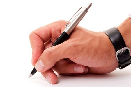 mans hand with a pen on a white background. Stock Photo