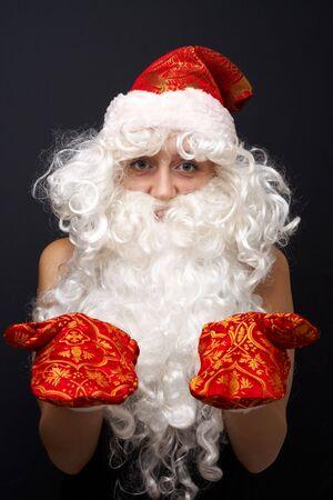 jack frost: Jack Frost. Tradicionales de Santa Claus aislados sobre fondo negro. Foto de archivo